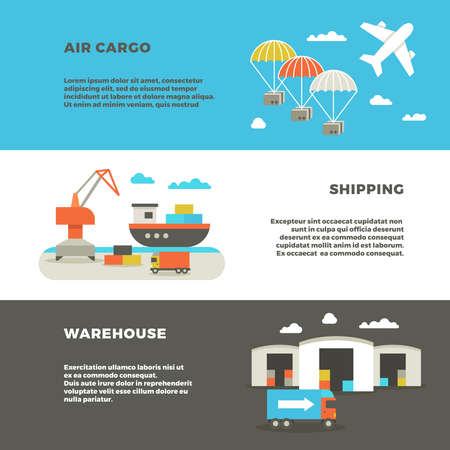 Delivery cargo transportation and logistics service vector advertising banners. Warehouse with container and shipping, illustration air and sea shipping