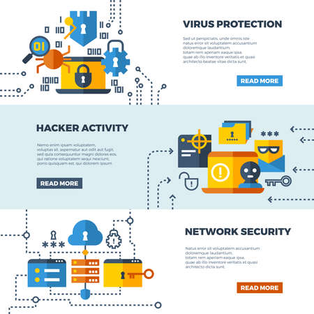 Online communication security, computer protection vector web banners set. Protect computer firewall, protect access to network illustration