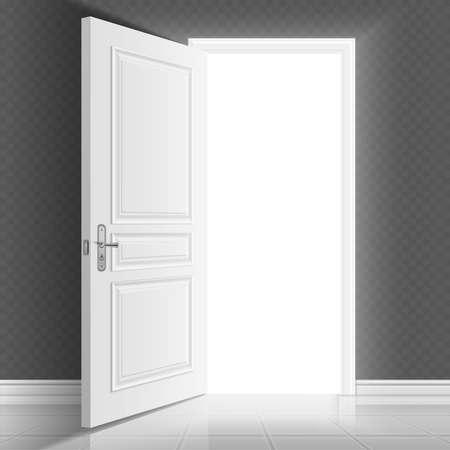Open white entrance door. Business success vector concept background. Business chance and hope in open door illustration Ilustración de vector