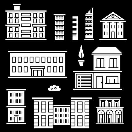 White houses icons on black backgrond. Set of building construction. Vector illustration