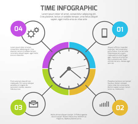 Presentation vector background with time management infographic, clock and options. Infographic for presentation business illustration