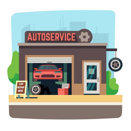Car repair mechanic shop with automobile inside auto garage vector illustration. Auto service repair garage