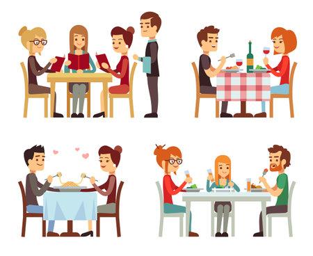 People in restaurant eating dinner vector flat concepts. Family in restaurant, illustration of romantic date in restaurant