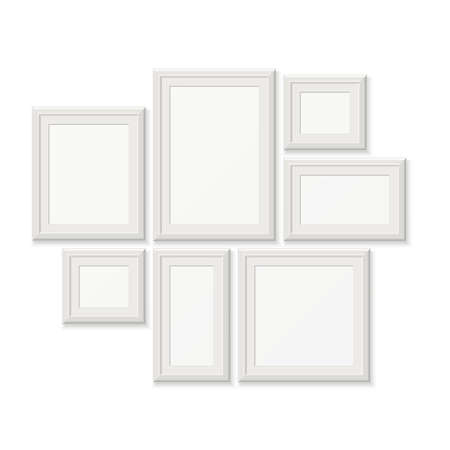 Empty white pocture frames, 3d photo borders isolated on white wall. Set of frames for photo, gallery with photography frame illustration Vektorgrafik