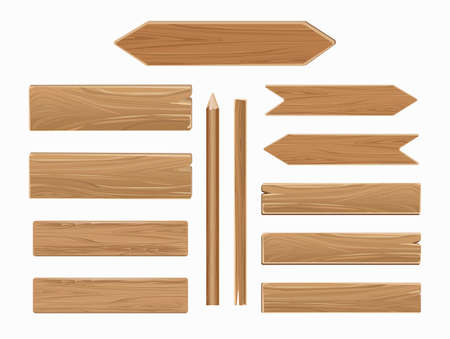 Vector wooden planks isolated on white background. Collection of old texture wood arrow illustration