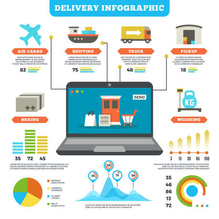 Cargo logistics and production delivery vector infographic mockup. Delivery service air and truck, illustration of delivery info and distribution