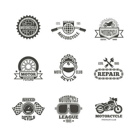 Race, motorcycle, motorbike repair vector retro labels, logo, badges and emblems. Motorbike service badge, illustration of label with motorbike