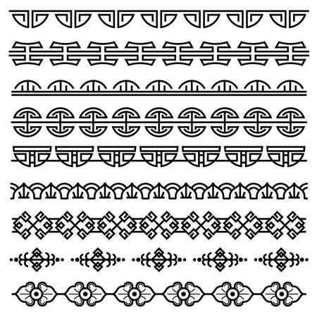 Chinese decoration, traditional antique korean pattern, vector asian seamless borders set. Korean border pattern, illustration of traditional oriental japanese pattern Vettoriali