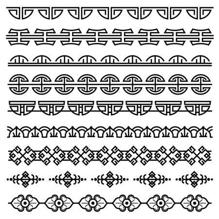 Chinese decoration, traditional antique korean pattern, vector asian seamless borders set. Korean border pattern, illustration of traditional oriental japanese pattern Vektorové ilustrace