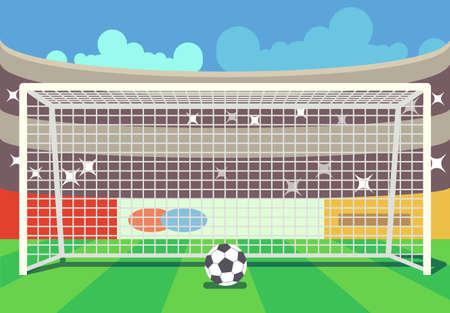 Vector soccer stadium and ball illustration. Frame to football sport illustration Ilustración de vector