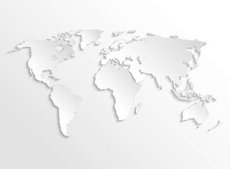 White paper earth 3d map. Vector template for business infographic. World template map with ocean and continent illustration