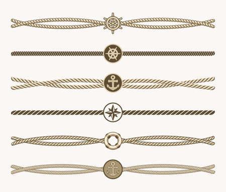 Nautical vintage rope vector dividers. Design of border frame illustration