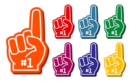 Colorful foam fingers vector set. Elements for sport support illustration Ilustración de vector