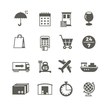 Global delivery, shipping truck and package vector icons. Delivery and distribution, storehouse and cargo lorry, delivery and logistic service illustration Vektorové ilustrace