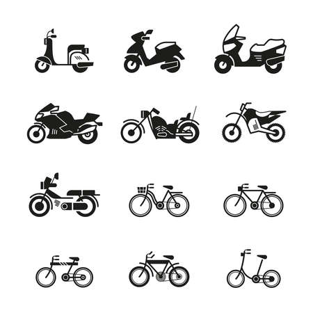 Motorcycle, motorbike, scooter, chopper and bicycle vector silhouette icons. Speed motorcycle and scooter illustration of bicycle and motorbike Векторная Иллюстрация