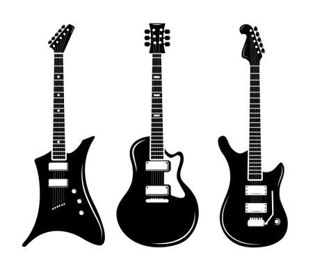 Vector black guitar icons acoustic and electric guitars. Musical guitar instrument for playing rock, illustration of black silhouette electric guitar