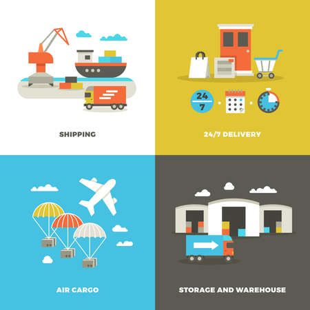 Worldwide shipping logistics and industrial warehouse. Picking technology and on time delivery vector concepts. Shipping and air cargo, illustration of delivery service banner