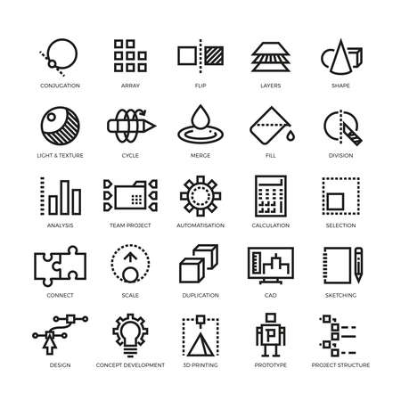 Cad designer, future innovation, database, architecture, 3d model printing vector line icons. Conjugation and array, flip and layer illustration Vettoriali