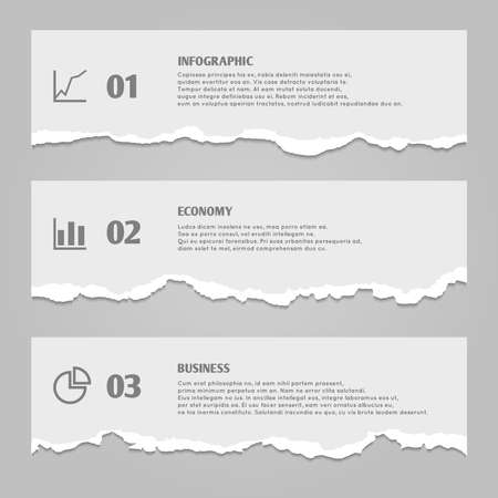 Torn paper sheets with numbers, infographic icons, paper banners with ripped edges - vector stock. Paper part torn strip, illustration of stripe horizontal torn infographic banner