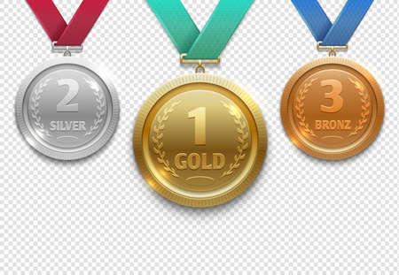 Olympic gold, silver and bronze award medals, winner honor prize vector set. Medal for winner, illustration of trophy medals Vecteurs