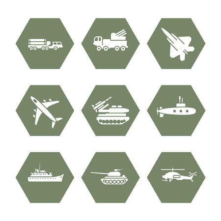 Military transportation icons set - army icons design. Army transport for war, vector illustration Vektoros illusztráció
