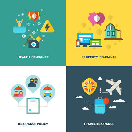 Insurance vector flat background concepts. Insurance banners, illustration of insurance travel and health