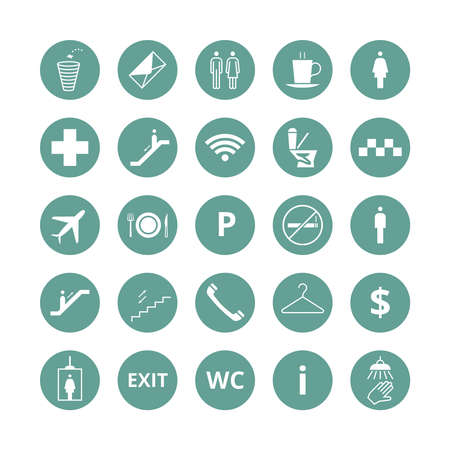 Public place navigation vector icons. Toilet, restaurant and elevator pictograms. Restaurant and toilet icons, illustration of elevator and info sings Vettoriali