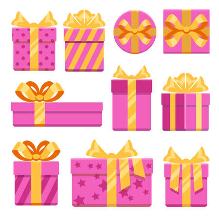Pink gift boxes with ribbon bows vector icons set. Christmas gifts with ribbon bow illustration Vecteurs
