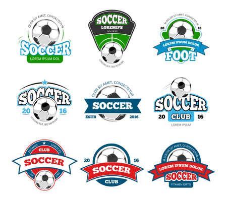 Football, soccer club vector logo, badge templates set. Emblem for sport tournament illustration Logo
