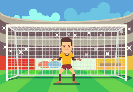 Soccer goalkeeper keeping goal on arena vector illustration. Defense player football