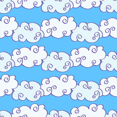 Vector hand drawn clouds over the blue sky seamless pattern. Caricature cumulus clouds illustration Vecteurs
