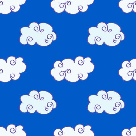 Vector hand drawn clouds over the blue sky seamless pattern background illustration