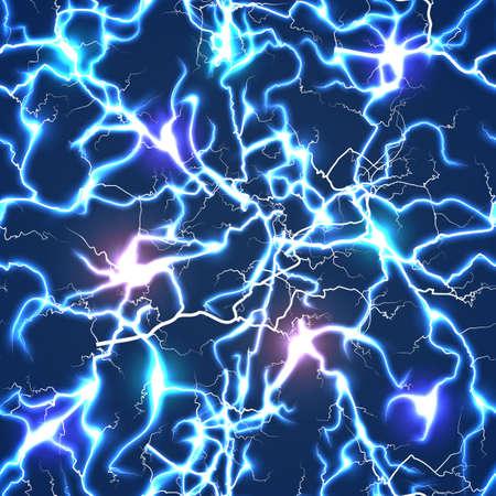 Electric blue vector lightning seamless pattern. Background electric blue flash illustration