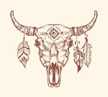 Aztec tribal buffalo skull vector t-shirt print, tattoo. Dead animal cow skull totem with feathers. Hand drawn skull cow illustration