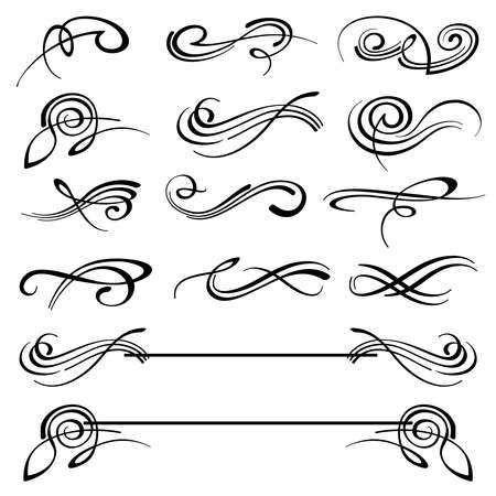 Calligraphy swirls ornate flourish vector decoration set. Calligraphy flourish tattoo, illustration of decoration flourish classical elements