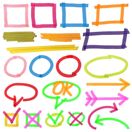 Highlighter marks, stripes, strokes, frames, speech bubbles, crosses, ticks and arrows vector set. Elements drawn with colored marker illustration Vecteurs