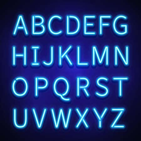 Glowing neon lights vector signs, typeset, letters, font. Alphabet neon style, illuminated retro alphabet illustration