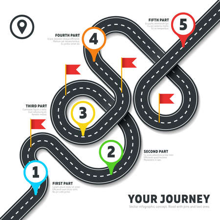 Navigation winding road vector way map infographic. Roadmap business info, plan road map for business illustration Vettoriali
