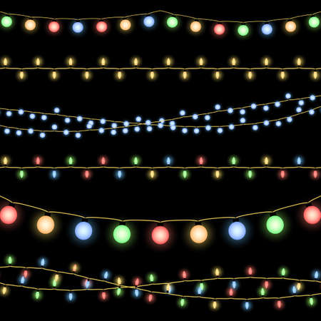 Glowing Christmas garlands vector background. Illustration of decorative design holiday