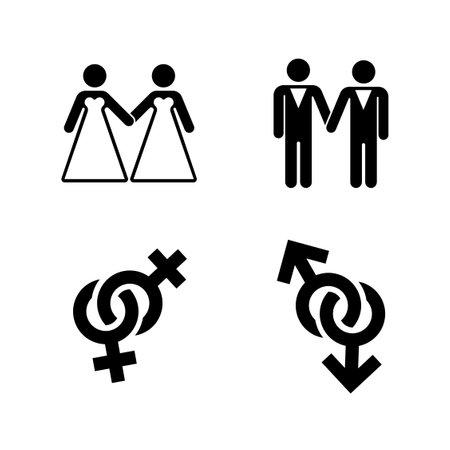 Vector wedding icons set white. Marriage love illustration