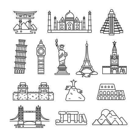 International country landmark vector line icons. Set of landmarks famous monument, stonehenge landmark and coliseum illustration Vector Illustration