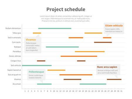 Project plan schedule chart with timeline, gantt progress vector graph. Infographic project timeline for business, structure statistical project illustration