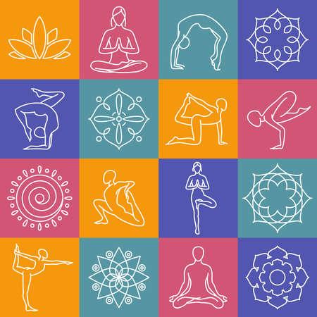Yoga, body poses vector symbols for pilates studio, meditation class. Body position for yoga, set of sign for yoga gym illustration