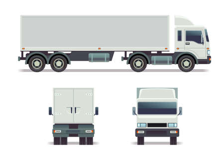 Cargo track in three points of view isolated on white. vector template for corporate identity. Long cargo truck with container, illustration of truck front, back and side view