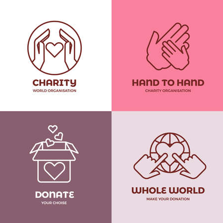 Nonprofit and volunteer organization, charity, philanthropy concept vector logo set. Concept of charity, illustration of emblems charity world organization