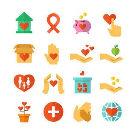 Charity, social help, money donate, nonprofit funding, generous hands vector. Set of icons hand giving and charity, ilustration of charity and donate