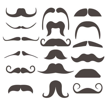 Funny fake moustaches for mouth mask vector. Collection of fashion moustaches, illustration of curly moustache