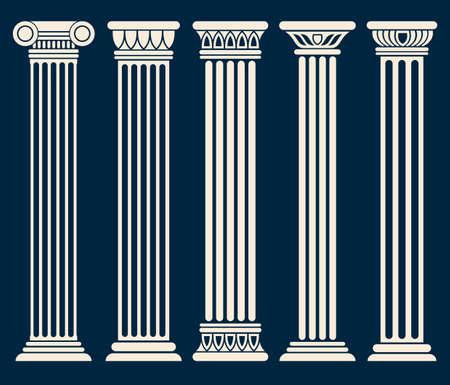 Classic roman, greek architecture columns vector set. Sculpture column for decoration, illustration of ancient historical columns