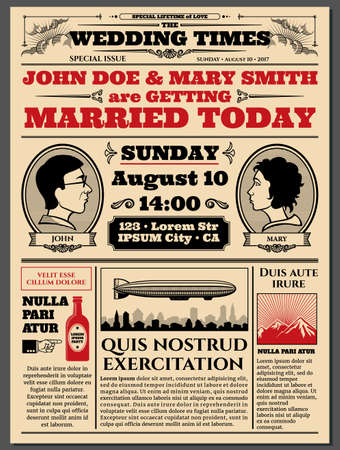 Vintage newspaper front page, wedding invitation vector layout. Info about wedding in newspaper, illustration of article wedding invitation