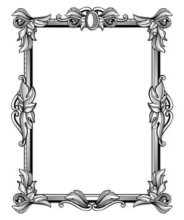 Retro, antique baroque border frame with scroll ornaments vector illustration. Victorian frame with leaves, vintage floral baroque frame Vetores